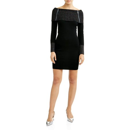 No Boundaries Juniors' Marilyn Neck Sweater Dress with Zippers for $<!---->