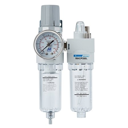 Compressed Air Filter Regulator Lubricator Combo Unit with Gauge 1/4 inch NPT Thread,Semi-auto Drain, Poly (Purpose Combo Filter Regulators)