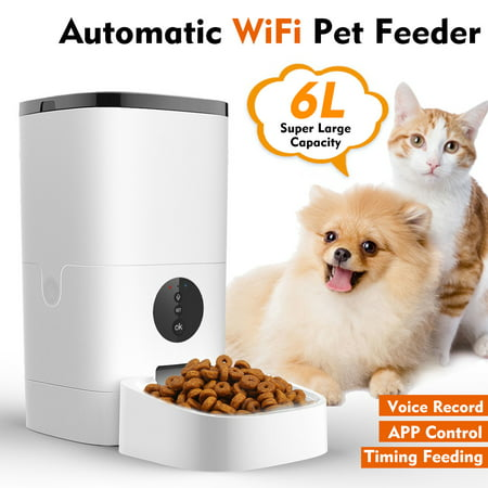 6L Smart Pet Feeder Support APP Control Voice Recording Timing Feeding Automatic...