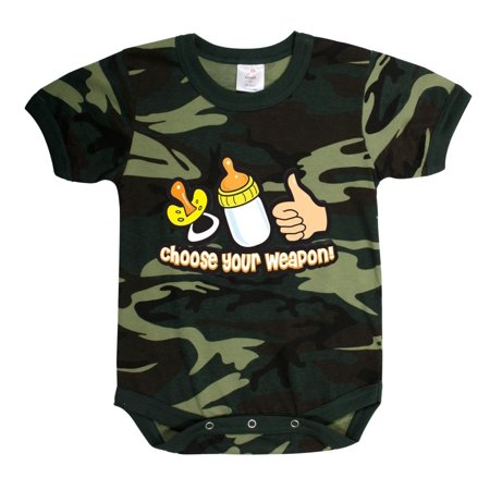 New Woodland Camo Choose Your Weapon One-Piece Infant -Toddler Bodysuit