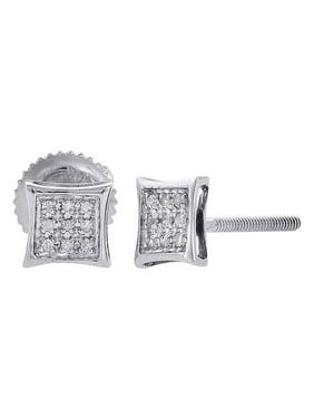 10K White Gold Round Diamond Earrings Mens Ladies Pave Set Kite Stud 1/20 ct.