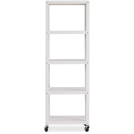 Lorell RTA Mobile Bookcase, White, 1 Each (Quantity)