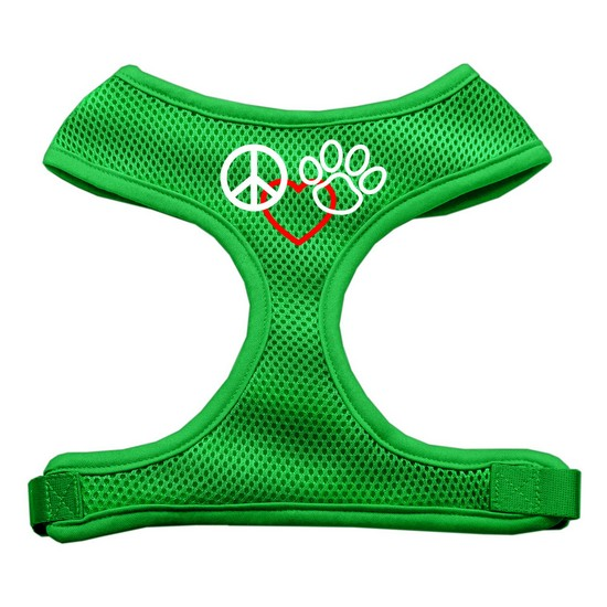 Peace, Love, Paw Design Soft Mesh Harnesses Emerald Green Large