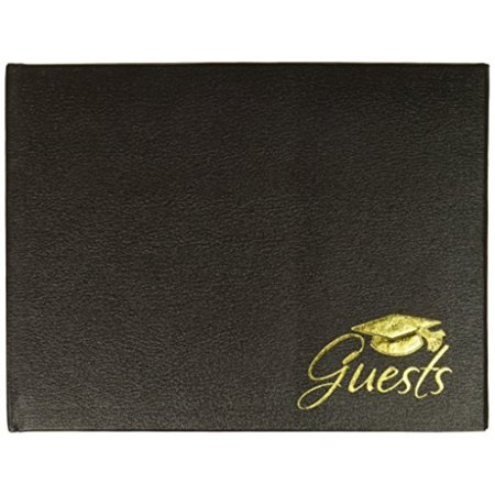 Guest Book Blank (Grad Black Hardcover Graduation Party Guest Book Keepsake Favour Supply, 6