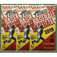 (3) 2019 Topps Heritage Baseball Cards Hobby Pack of 9 Cards