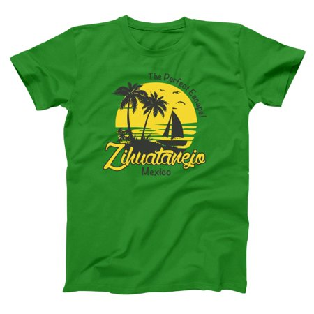 Zihuatanejo Mexico Small Green Basic Men's (Best Green Chile Cheeseburger In New Mexico)