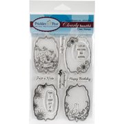 "Prickley Pear Clear Stamps 4""X6""-Flourished Oval"