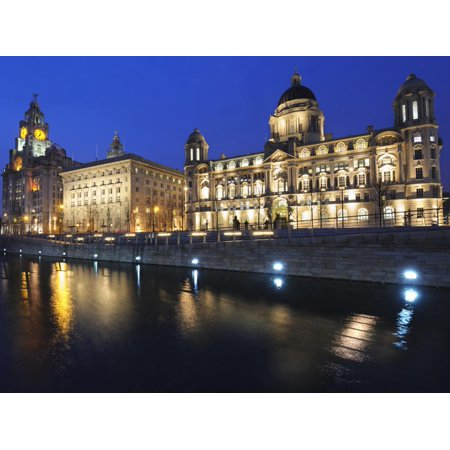 The Three Graces at Dusk, Cunard Building, Port of Liverpool Building, UNESCO World Heritage Site, Print Wall Art By Chris (Liverpool Maritime Mercantile City World Heritage Site)