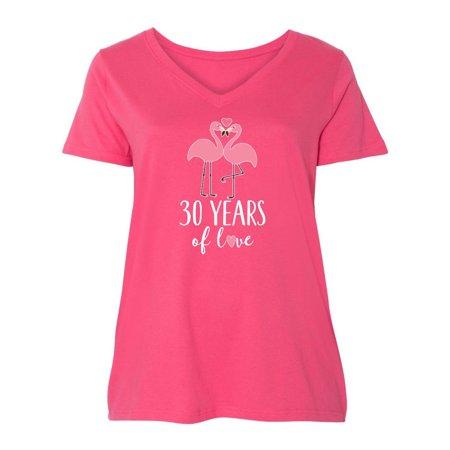 30th Anniversary Gift Flamingo Couple Ladies Curvy V-Neck Tee