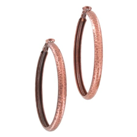- Copper Ox Tone Domed Hammered Hoop Earrings 2 3/8