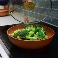 Neware Terracotta Enjoy Natural Cooking Non-Stick Terra Cotta Wok with Lid 28 cm Fathers Day Gifts for Dad