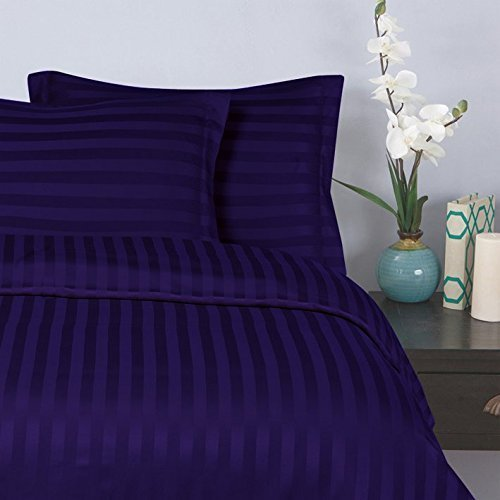 "Elegant Comfort® Wrinkle & Fade Resistant 1500 Thread Count - Damask STRIPES  Silky Soft 4pc Sheet Set, Up To 16"" Deep Pocket, Queen, Purple"