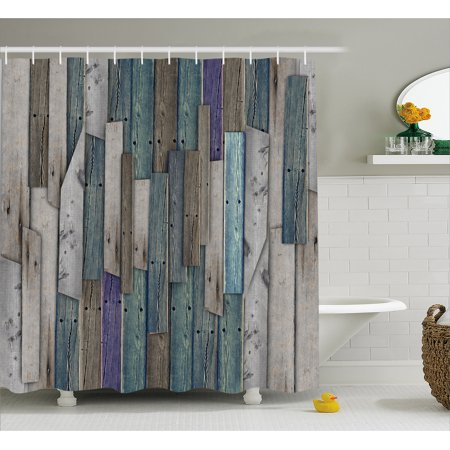 Rustic Shower Curtain Image Of Blue Grey Grunge Wood Planks Barn House Door Nails Country