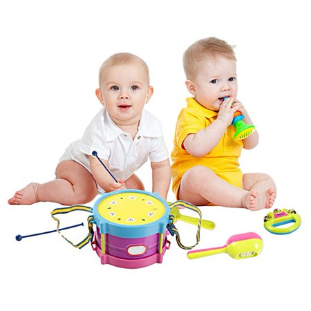 On Clearance 5Pcs Baby Roll Drum Musical Instruments Band Kit Novelty Children Toy Baby Kids Toddler Gift Set