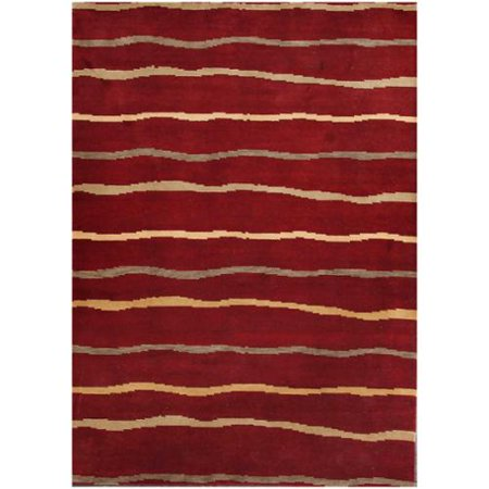 Abc Accents Tibet Stripes Burgundy Wool Rug  6 X 9