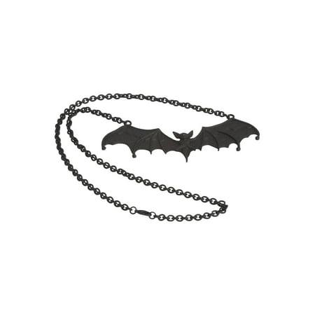 5 Black Gothic Vampire Bat Necklace Deathrock Rockabilly Dracula Halloween Rock (Halloween Reflector Necklaces)