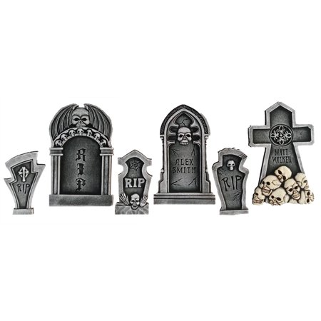 6 Piece Skull Tombstone Kit 3 Small 3 Large Halloween Holiday Decoration Prop