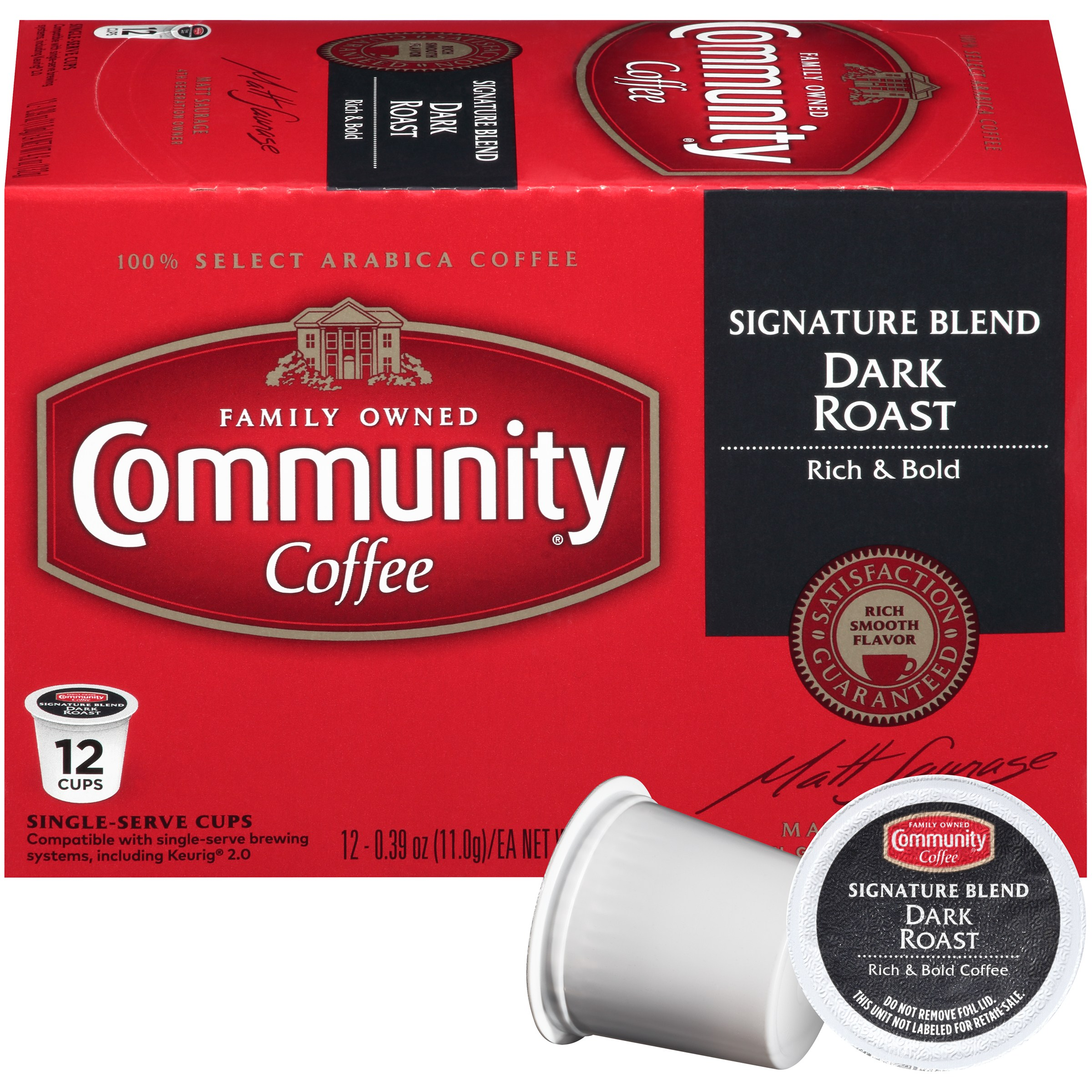 Community Coffee Single-Serve Cups Signature Blend Dark Roast Coffee, 12 Count, Compatible with Keurig K-Cup Brewers