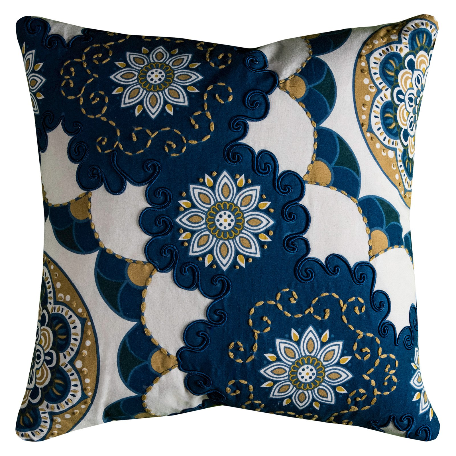 "Rizzy Home Decorative Poly Filled Throw Pillow Floral 20""X20"" Indigo"