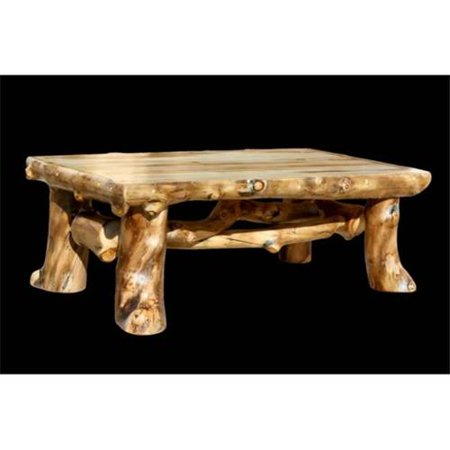 Aspen log furniture sig ct coffee table hand crafted 48 x for Coffee tables 18 inches wide