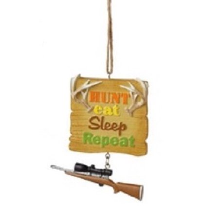 "Ganz 3.25"" Funny ""Hunt Eat Sleep Repeat"" Quote Plaque Christmas Ornament - Brown"