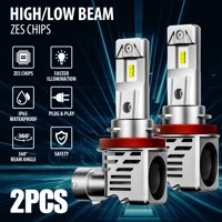 EEEkit Pack of 2 H11 H8 H9 LED Headlight Bulbs 24000lm Per Set 6500K Cool White Wireless Headlight LED Bulb, IP65 Waterproof, Built in IC Driver and Fan Cooling