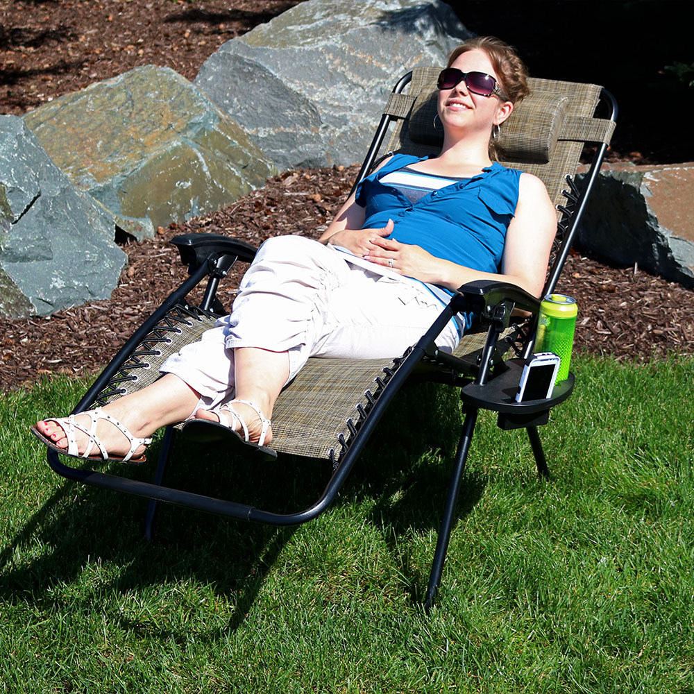 Sunnydaze Charcoal Outdoor Oversized Zero Gravity Lounge Chair with Pillow and Cup Holder