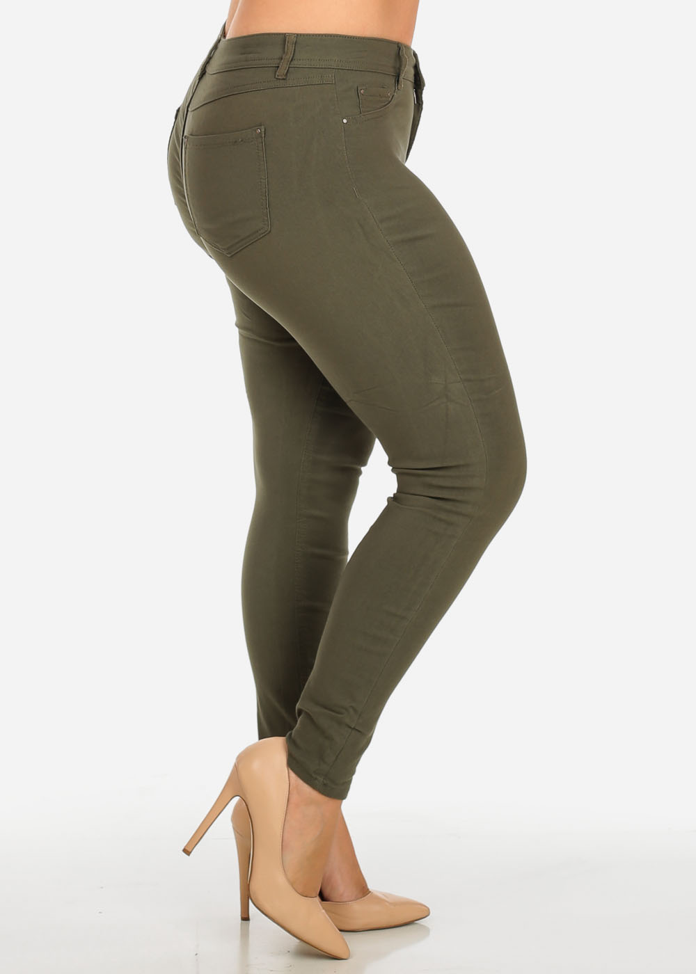 Womens Juniors Stylish Mid Waist Solid Olive One Button Stretchy Skinny Pants 30729J