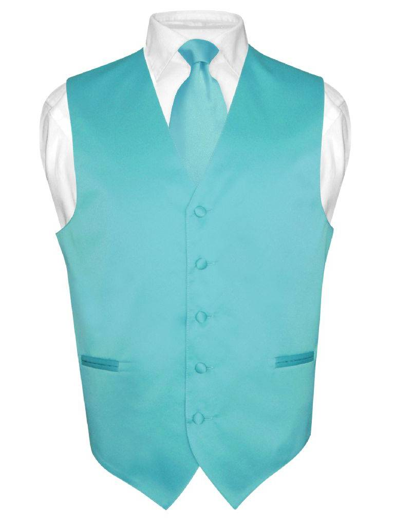 Men's Dress Vest & NeckTie Solid TURQUOISE AQUA BLUE Neck Tie Set for Suit Tux