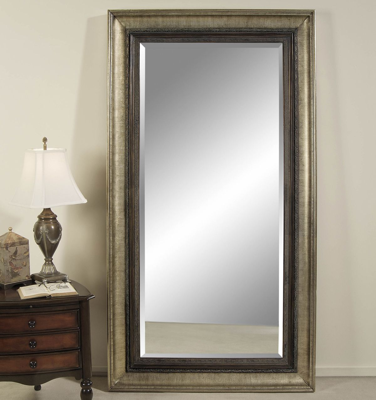 Bassett Transitions Galindo Leaner Mirror in Antique Silver