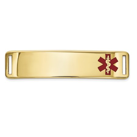 14K Yellow Gold Epoxy Enameled Medical ID Off Ctr Plate # 820 - image 1 de 2