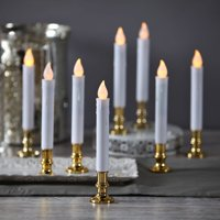 Product Image White Flameless LED Taper Window Candles With Gold Removable Candle Holders