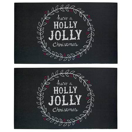 - 2 Pack Holiday 17 x 29 Outdoor Doormats Non Slip Christmas Floor Mat Rugs