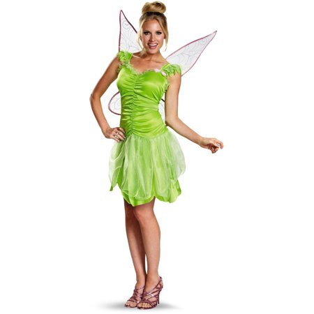 Adults Womens Classic Disney Peter Pan Tinker Bell Tinkerbell Costume Teen 7-9