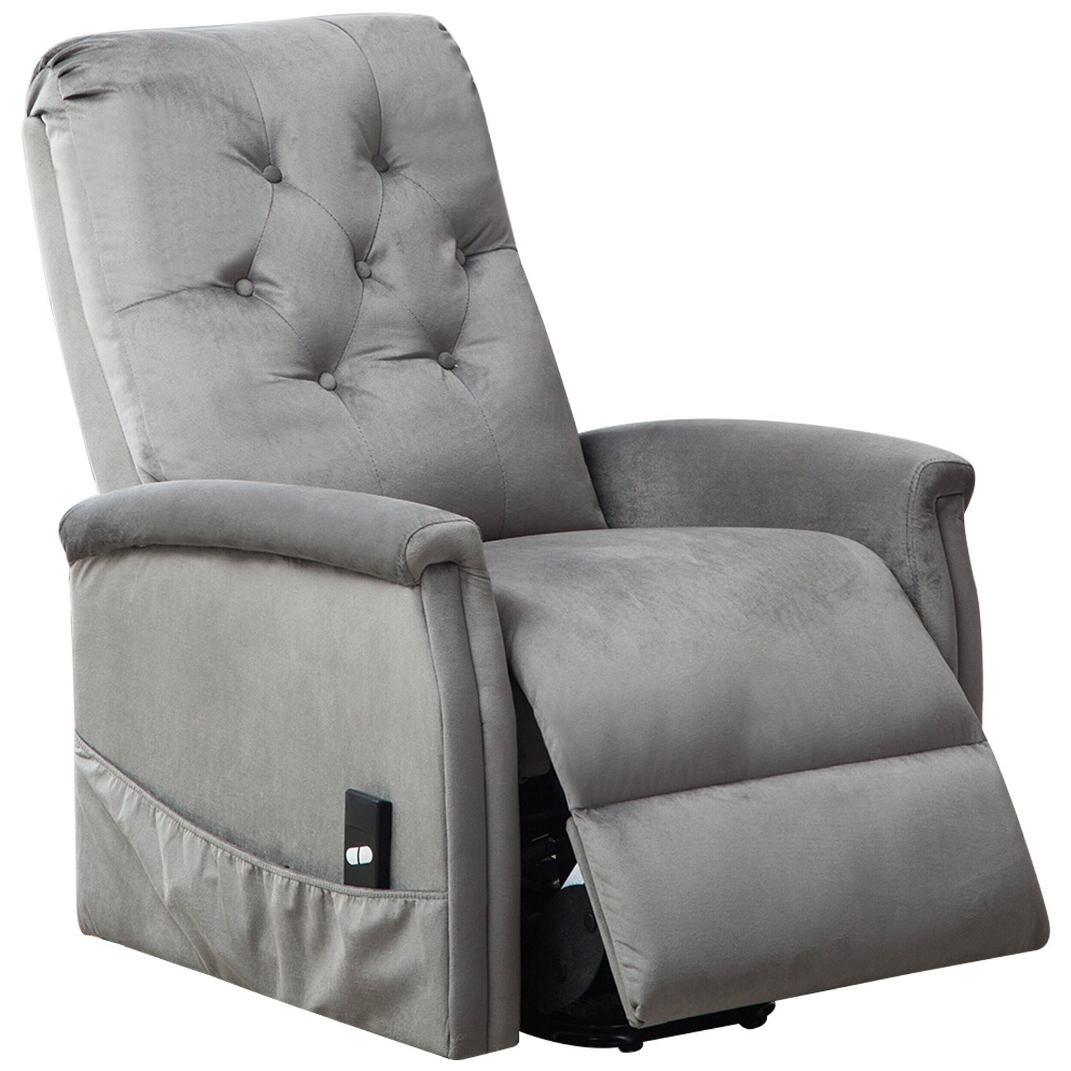 BONZY Power Lift Chair Tufted Recliners Living Room Electric Lifting/Reclining Chairs Furniture - Light Gray