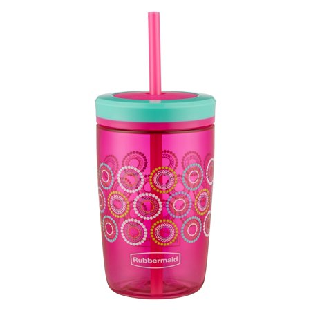Rubbermaid 16 oz. Straw Kids Tumbler, Tart Pink with Round and Round - Cute Tumblers With Straws