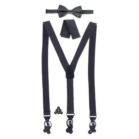 Gioberti Men's Convertible Suspenders, Bow Tie, and Handkerchief - Bow Tie Suspenders