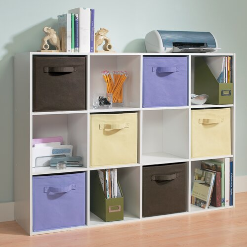 Espresso Stylistic Versatile Indoor Decor 12 Cube Storage Organizer with Winter Gloves
