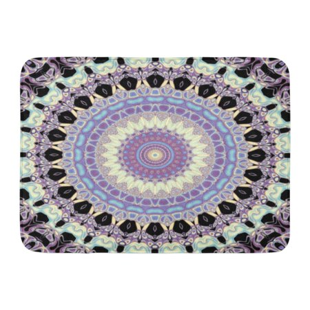 GODPOK Creativity Abstraction Abstract Symmetric Pattern in Nouveau Style on Black Colors Curve Rug Doormat Bath Mat 23.6x15.7 inch