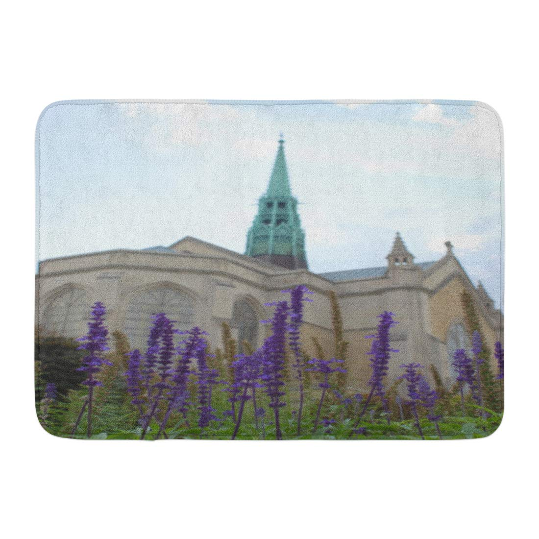 GODPOK Looking Up at Purple Spikes of Perennial Salvia in Foreground Stone Church with Green Verdigris Copper Rug Doormat Bath Mat 23.6x15.7 inch