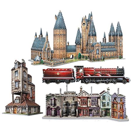 Complete Set of All 5 Harry Potter 3D Jigsaw Puzzles Made by Wrebbit