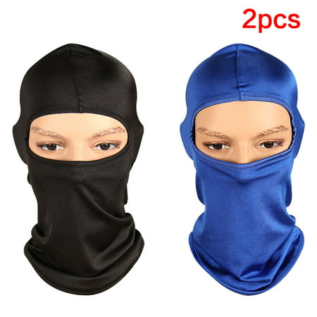 FeelGlad 2 Pack Outdoor Bike Motorcycle Helmet Neck Winter Hat Wind-Resistence Face Mask Full Face  Ski Mask Cold Weather Face Mask  Ski/Snowboard Winter Gear for Men Women Blue Black (Revolution Helmet Face Mask)