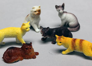 6pc Cats Assorted Cake Adornments (2 inches)