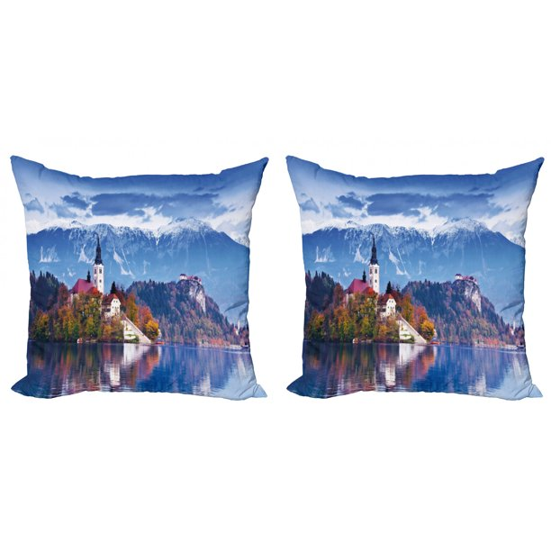 Landscape Throw Pillow Cushion Cover Pack Of 2 Photo Of Bled In Slovenia With Lake Snowy Mountains And A Castle Pastoral Scenery Zippered Double Side Digital Print 4 Sizes Multicolor By Ambesonne
