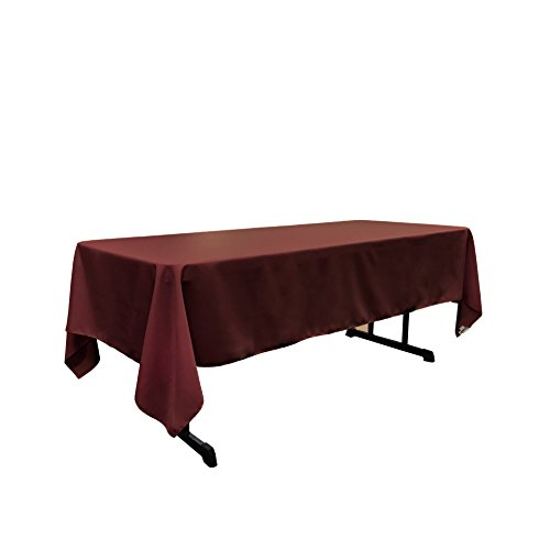 "LA Linen Polyester Poplin Rectangular Tablecloth 60 by 144"" , Burgundy by LIVEDITOR LIGHTING"