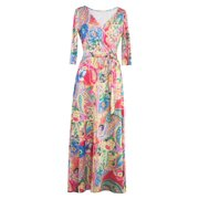 Bohemian Vintage Style Bright Color Printed Dresses Women Summer Clothes