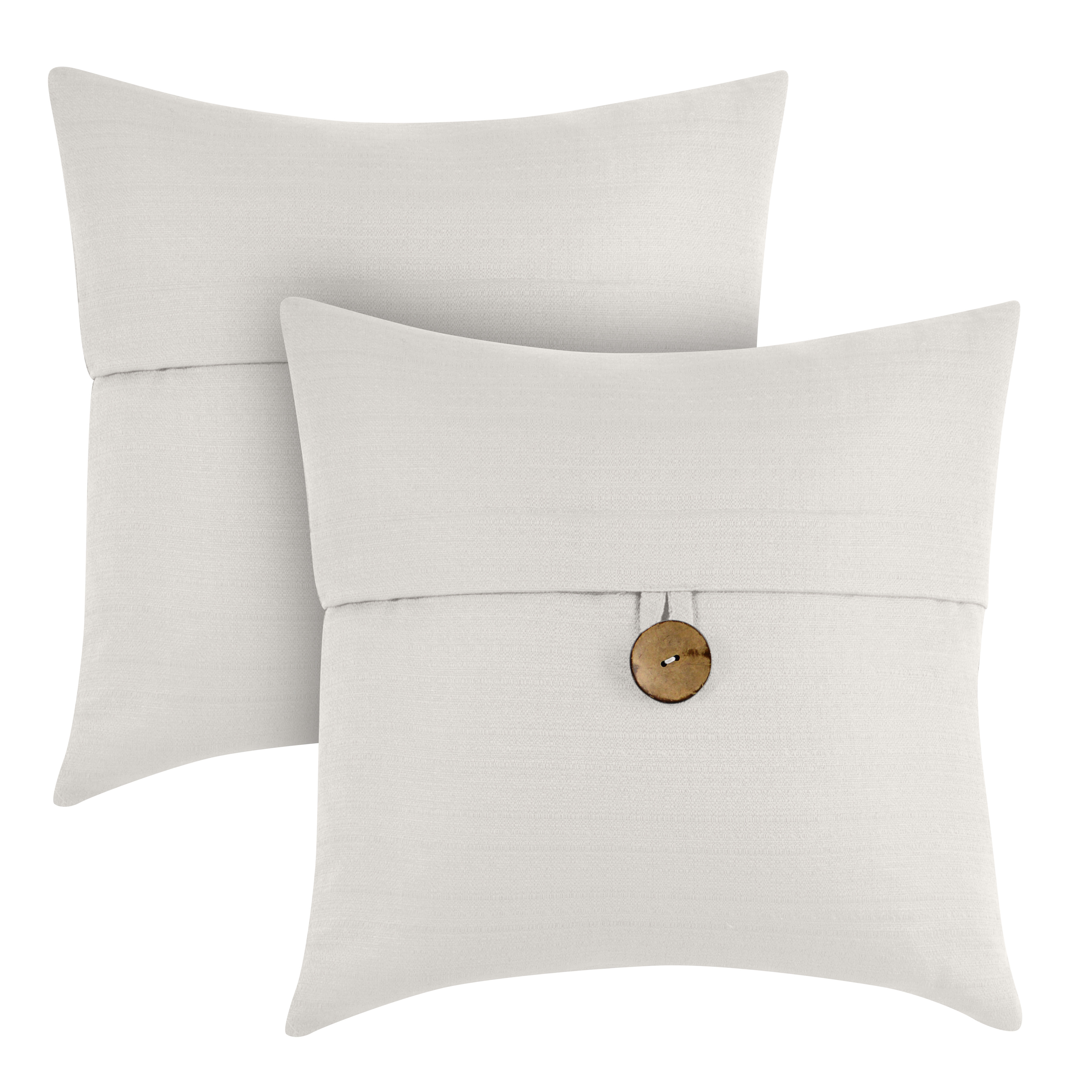 """Better Homes & Gardens Feather Filled Banded Button Decorative Throw Pillow, 20"""" x 20"""", White, 2 Pack"""
