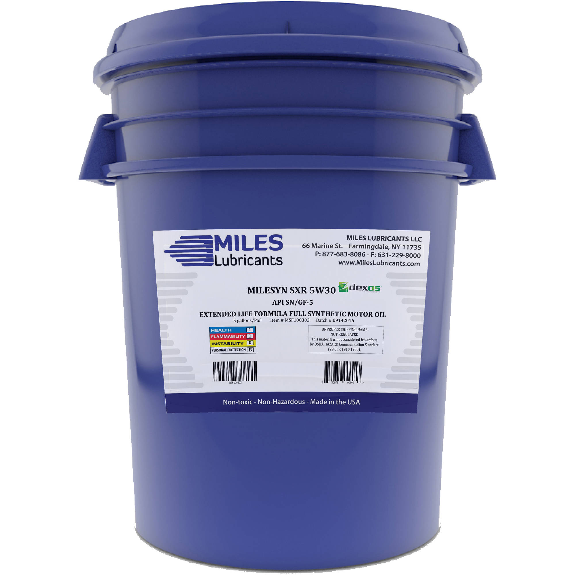 Milesyn SXR 5W30 API GF-5/SN, Dexos1, Full Synthetic Motor Oil, 5-Gallon Pail