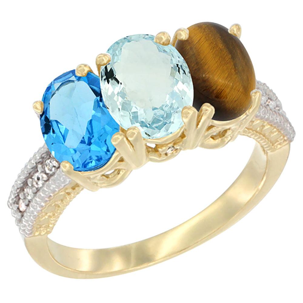 14K Yellow Gold Natural Swiss Blue Topaz, Aquamarine & Tiger Eye Ring 3-Stone 7x5 mm Oval Diamond Accent, sizes 5 10 by WorldJewels