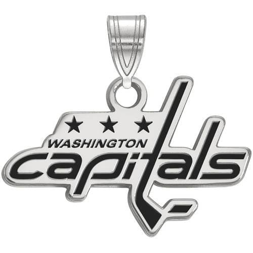 LogoArt NHL Washington Capitals Sterling Silver Small Enamel Pendant